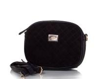 Женская сумка-клатч из качественного кожезаменителя  и натуральной замши GUSSACI (ГУССАЧИ) TU14374-black