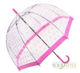 Зонт-трость женский механический FULTON (ФУЛТОН) FULL042-Pink-Polka-Dot